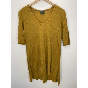 Left of Center V Neck Solid Tunics Tops Yellow S